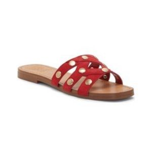 Vince Camuto Vasista red leather studded slides 7